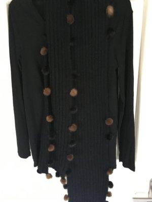 Bufanda de punto negro-color bronce