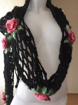 Handmade Bufanda de ganchillo negro-rosa