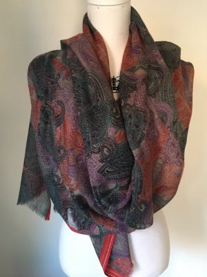 Silk Scarf red-grey