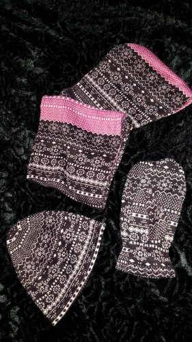 -8- Venice Gebreide sjaal neonroos-bruin-paars