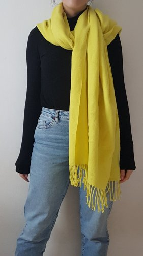 Pieces Fringed Scarf yellow-neon yellow