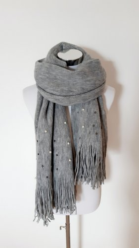 keine Marke Knitted Scarf silver-colored-light grey