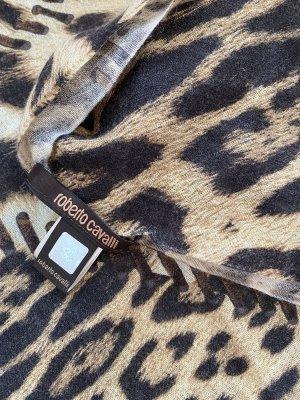 Roberto Cavalli Bufanda de cachemir marrón oscuro-camel