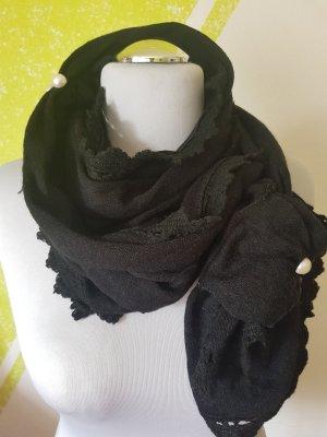 Schal schwarz Perlen