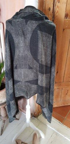 Sciarpa con frange nero-grigio chiaro