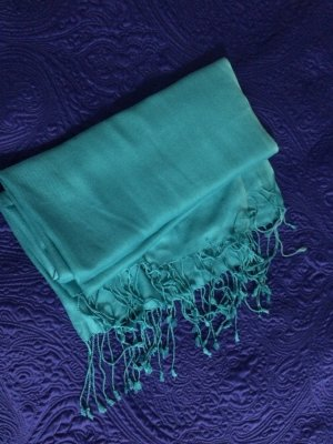 Pashmina turquoise-light blue viscose