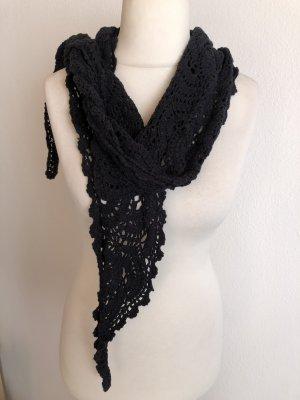 Unikat Gebreide sjaal zwart
