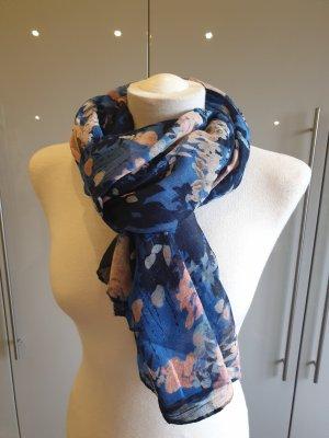 Bufanda de seda rosa-azul acero