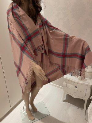 Sjaal met franjes baksteenrood-beige