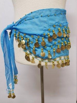 Schal Tuch Bauchtanz mit perlen und Münzen  Blau Hüftgürtel