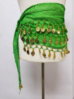 Schal tuch Bauchtanz mit Perlen und Münzen Grün neu