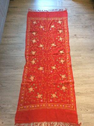 Schal/Tuch Baumwolle rot Blumen