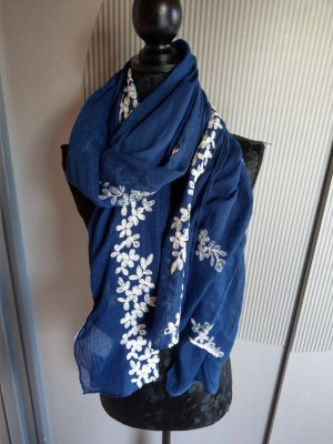 Schal Tuch blau beige Blumen Neu Multiblu