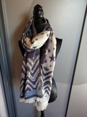 Liberty Sciarpa di lana crema-blu