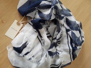 Schal/Tuch blau/wollweiß gemustert