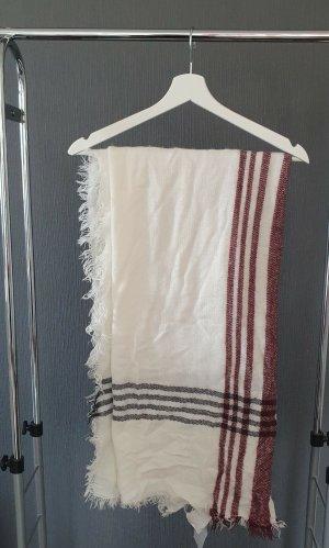 Schal/Tuch in weiß/dunkelrot
