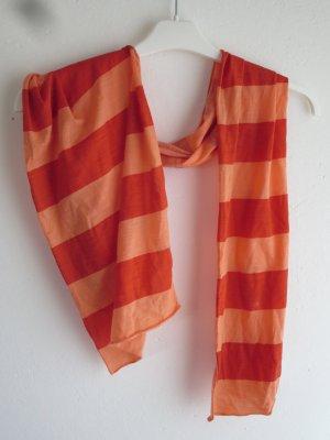 Schal Tuch Streifen orange rot Casual Merno