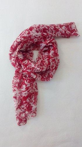 Vintage Chal veraniego blanco-rojo