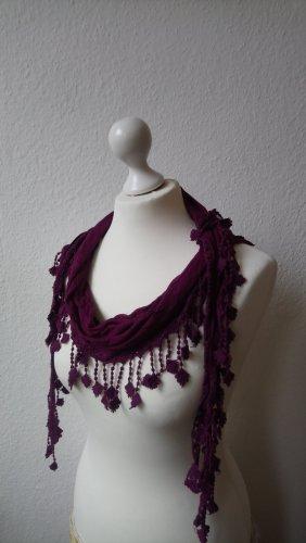 Schal / Tuch von OPUS mit Fransen und gehäkelten Ornamenten