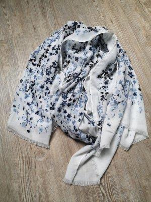 Schal Tuch XXL Sommertuch Blumen hellblau weiß blau neu