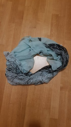 Écharpe ronde noir-bleu pâle