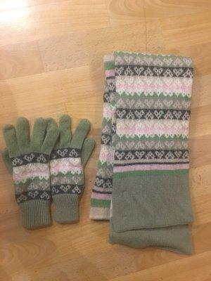 Bufanda de punto blanco puro-verde