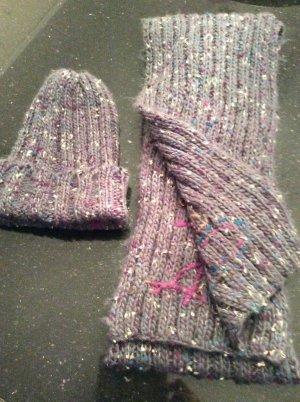 Desigual Gebreide sjaal paars-wit