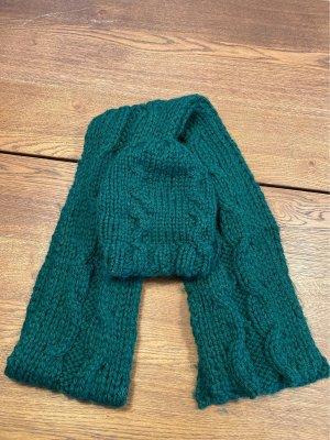 Bufanda de lana verde bosque-verde oscuro