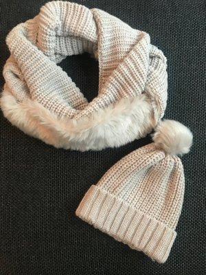 Schal und Mütze aus Strick, Tchibo, beige mit Fell *neuwertig*
