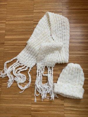 Schal und Mütze Set weiss Strick