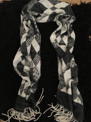 Bufanda de cachemir blanco puro-negro