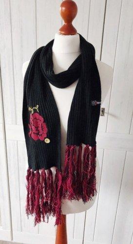 Desigual Sjaal met franjes zwart Gemengd weefsel