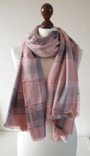 Schal von Esprit * kariert * Fransen * rose-weiß-grau