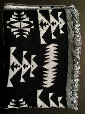 H&M Divided Fringed Scarf black-white mixture fibre