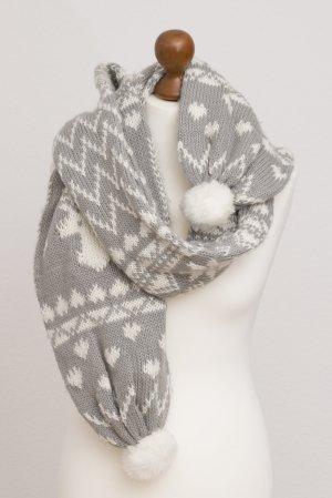 H&M Bufanda de punto color plata-blanco
