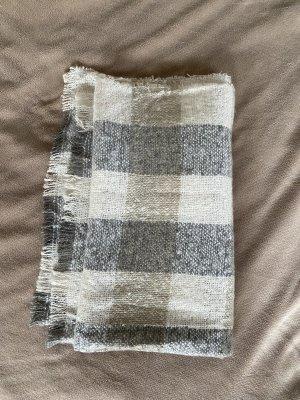 Mango Bufanda de punto blanco puro-gris claro