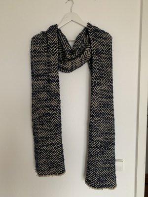 Stefanel Bufanda de lana crema-azul acero