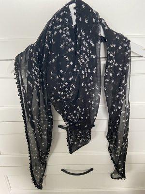 Tom Tailor Écharpe d'été noir-blanc tissu mixte