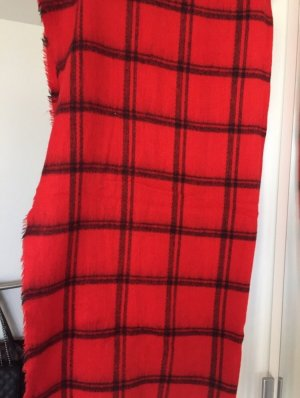 Zara Bufanda de lana negro-rojo