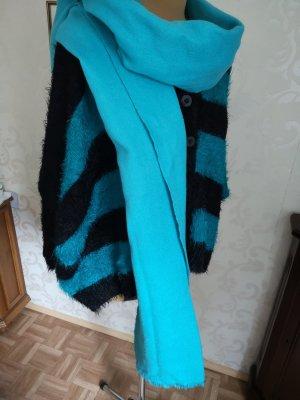Schal Winter Winterschal XL Neon Blau Türkis