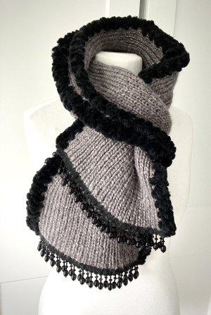 Schal Wolle Strickschal Wollschal grau schwarz Perlen Etsy Unikat