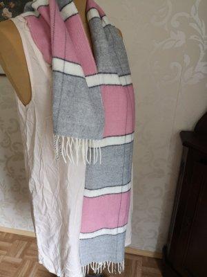 Schal Wollschal Pink Grau Weiß