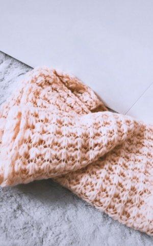 Zara Bufanda de lana color rosa dorado