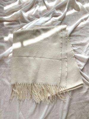 H&M Bufanda de flecos blanco puro-crema