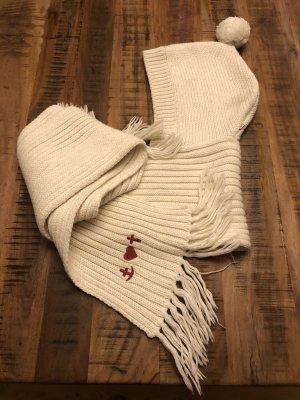 Blutsgeschwister Chapeau en tricot blanc cassé-rouge