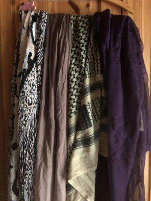 Sjaal met franjes grijs-bruin
