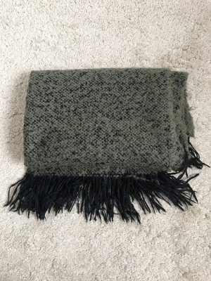 H&M Bufanda de punto verde oscuro-negro