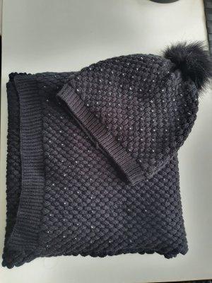 Bonita Bufanda de punto negro-color plata