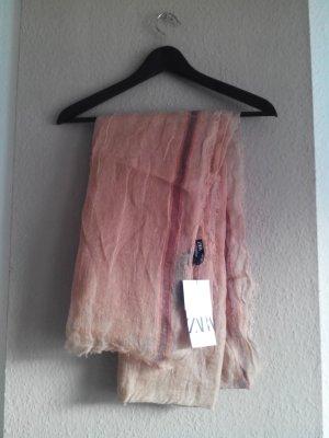 Zara Écharpe en tricot rosé lin