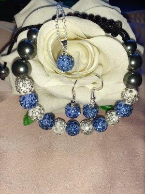 Collana di perle bianco-azzurro